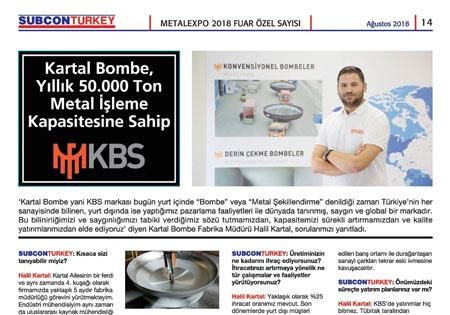 Kartal Bombe has an annual Metal Processing Capacity of 50.000 Tons